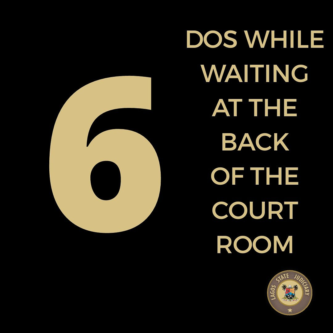 6 discuss while waiting at the back of the courtroom