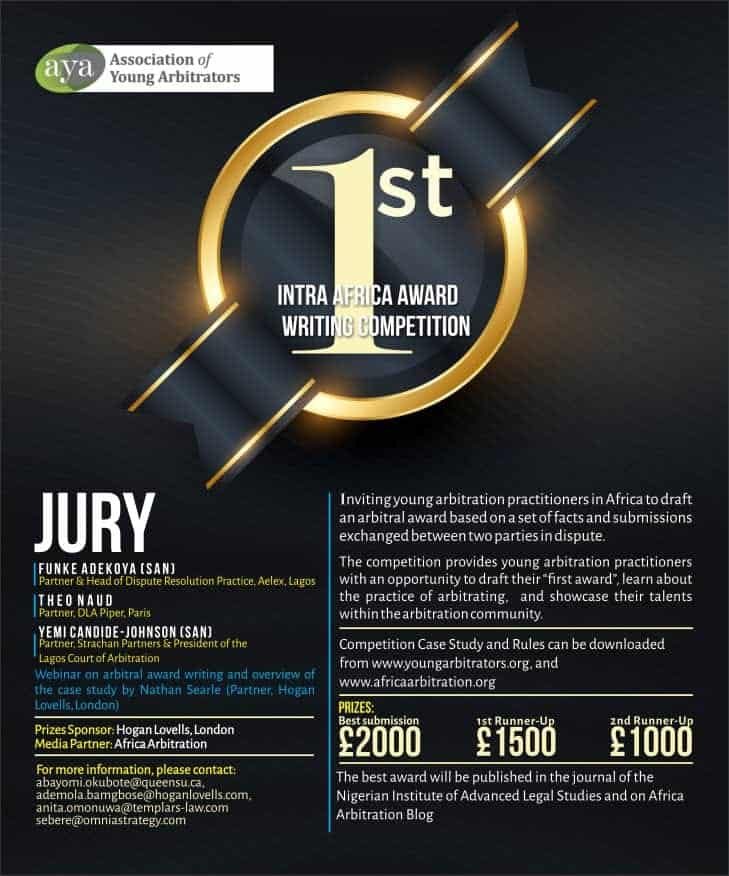 Participate In The Association of Young Arbitrators 1st Intra-Africa Award Writing Competition