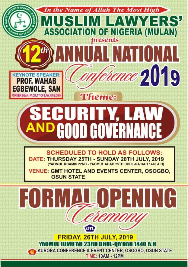 MULAN Annual Conference to Hold in Osogbo 25th-28th July| Security, Law and Good Governance