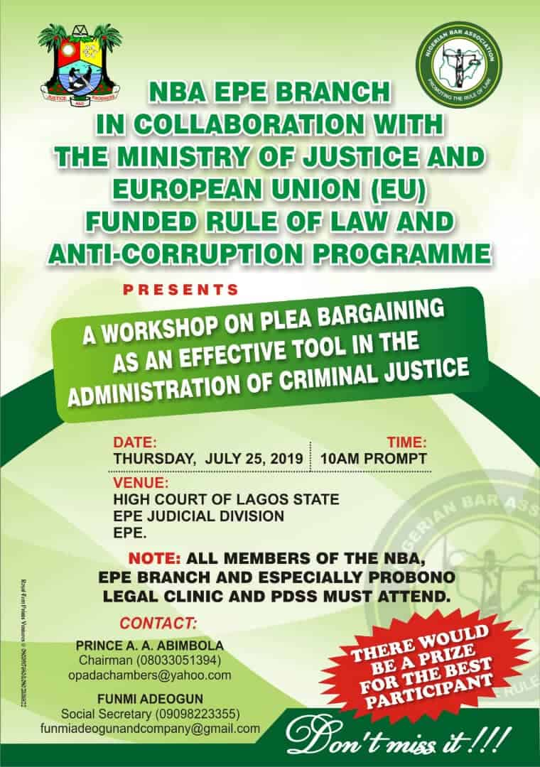NBA Epe Branch, MOJ, EU Present Workshop on Plea Bargaining as an Effective Tool in the Administration of Criminal Justice