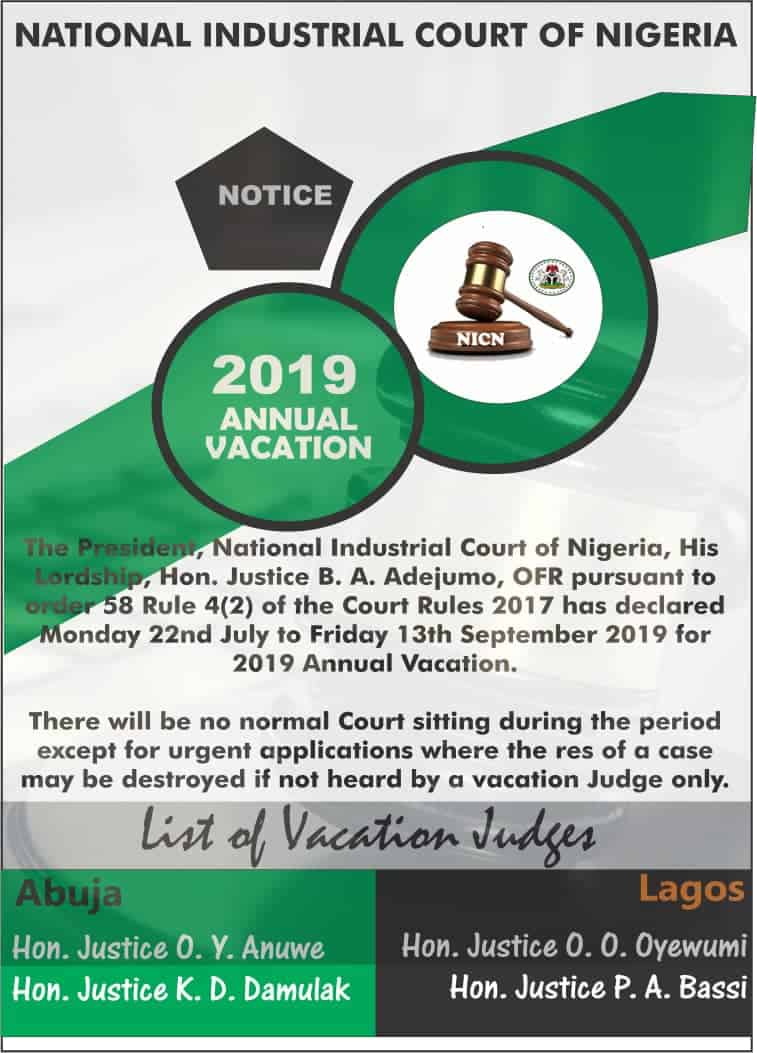 National Industrial Court Commences Annual Vacation July 22
