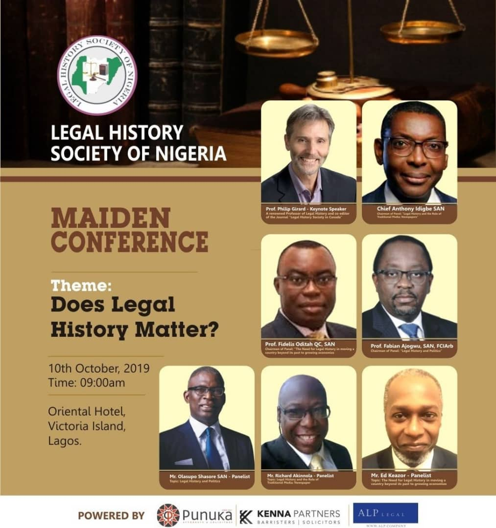 Legal History Society of Nigeria Set to Hold Maiden Conference in Lagos| October 10, 2019