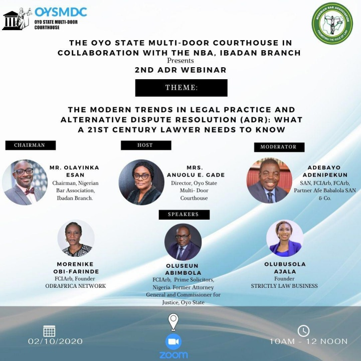 NBA Ibadan Branch and Oyo State Multi-Door Courthouse to Hold 2nd ADR Webinar