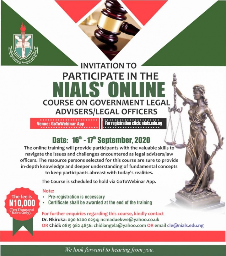 Register for the NIALS Online Training Course for Government Legal Advisers/Law Officers