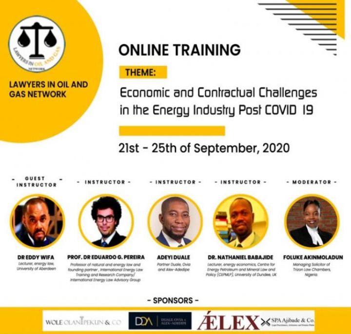 [REGISTER] Lawyers in Oil and Gas Online Training| Economic and Contractual Challenges in the Energy Sector Post-Covid-19