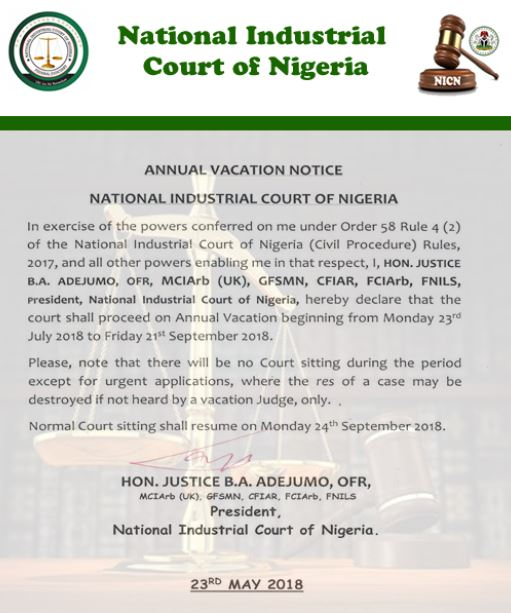 National Industrial Court Annual Vacation